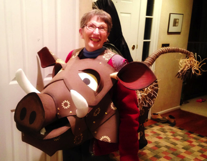 Grammy as Pumba. Patti Rose made that costume. Isn't that AMAZING?!?!
